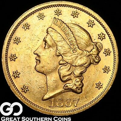 1867 Double Eagle, $20 Gold Liberty, Tough Low Mintage Better Date, ** Free S/H!