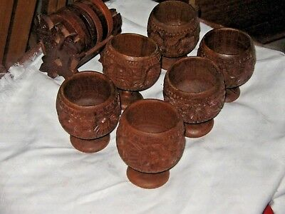 A Set of 6 Wooden Carved Island Tiki Bar Styled Goblets & Coasters with Rack