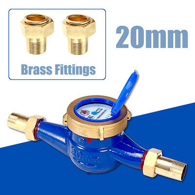 """3/4""""20mm Garden Home Brass Flow Measure Tape Water Meter Copper Cold Dry Counter"""