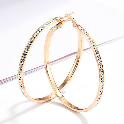Fashion Gold Big Round Hoop Earrings White Sapphire Big Circle Jewelry For Women