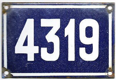 Old blue French house number 4319 door gate plate plaque enamel steel metal sign