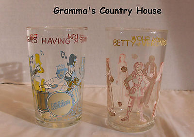 2 Archie Comics WELCH'S Glass Jam Containers c. 1971 Jam Session & Fashion Show