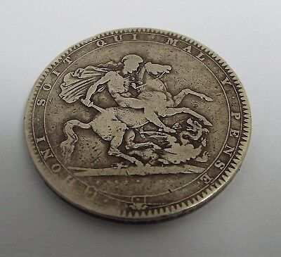 Fine Early Large English Antique Georgian 1818 Solid Sterling Silver Crown Coin
