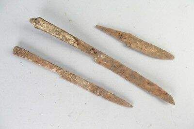 lot of 3 medieval south german kinfe blades , antique ground finds, uncleaned