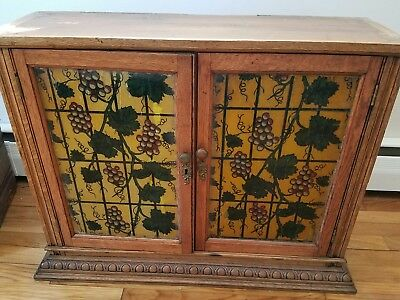 Antique Oak Painted Stained Glass Cupboard Cabinet Grapevine