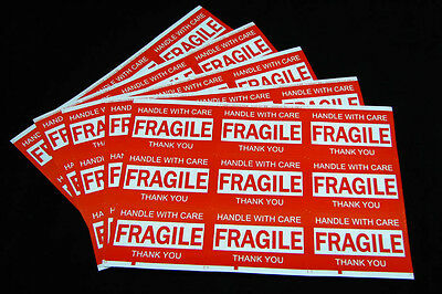 900PCS 76x50mm Fragile Handle With Care Thank You Adhesive Label Sticker Sheet