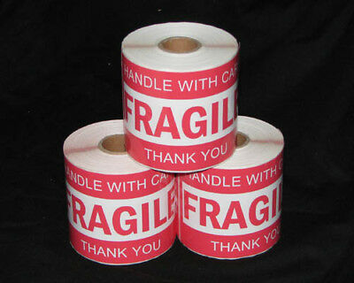 750x Fragile Handle With Care Thank You Adhesive Label 127x76mm Sticker Roll