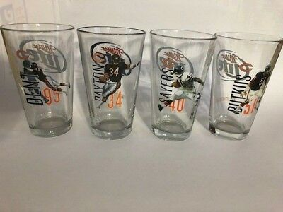 SET of 4 NEW Miller Lite Chicago Bears pint glasses Payton Sayers Butkus Dent