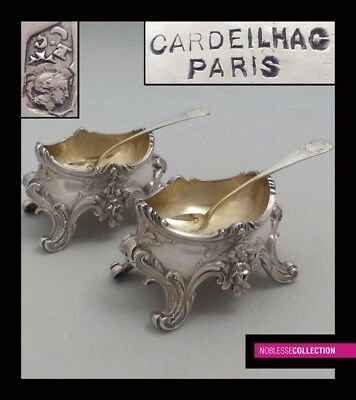 CARDEILHAC ANTIQUE 1880s PAIR OF FRENCH STERLING SILVER SALT CELLARS & SPOONS