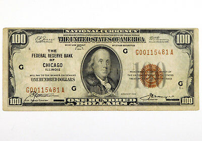 1929 $100 National Currency Note - Federal Reserve Bank of Chicago