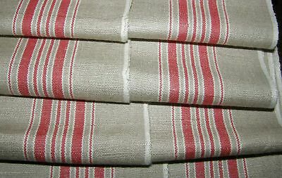 """MINT Linen Mangle Cloth Tablecloth Runner 6 Red Stripes 35"""" x 120"""" 3.3 Yd M1"""