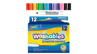 Washable Markers. Assorted Color. Broadline Tip. Pack of 12.