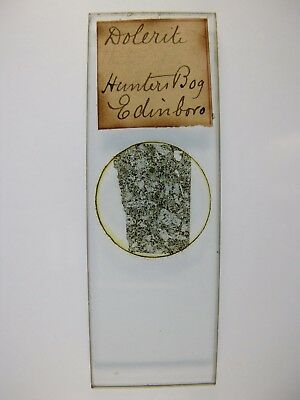 Antique Microscope Slide by James How & Co. Petrology. Dolerite from Hunters Bog