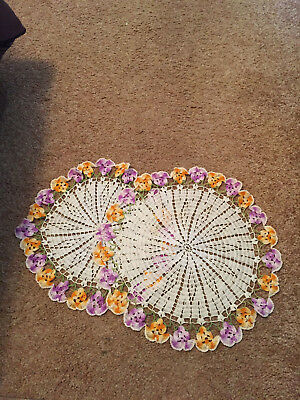 """Vintage Hand Crocheted Doilies - Pansies - Round - 14"""" and 16"""" - EC"""