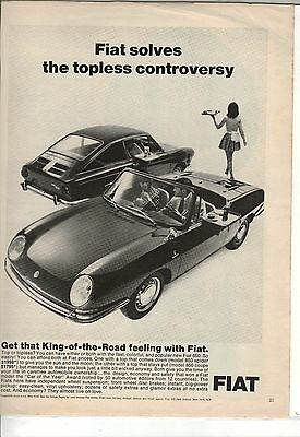 Original 1967 Fiat 850 Magazine Ad - Fiat Solves The Topless Controversy