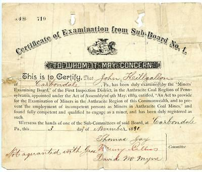 1890 Anthracite Coal Miner Certificate of Competency Carbondale Pennsylvania