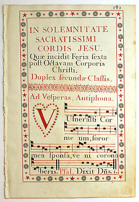 450 Years Old Great Display Large Gregorian Chant Antiphonal Leaf On Vellum