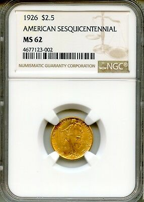 1926 $2.50 Sesquicentennial NGC MS62 ~ Commemorative Gold (4677123-002)
