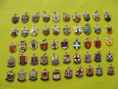 8) Various Vintage Sterling & 800 Silver Charms Uk & Worldwide Travel Shield