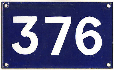 Old Australian used house number 376 door gate enamel metal sign in French blue
