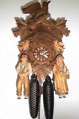 vintage cuckoo clock black forest anton schneider regula made in germany 8 day