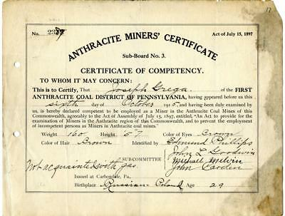 1915 Anthracite Coal Miner Certificate of Competency Carbondale Pennsylvania