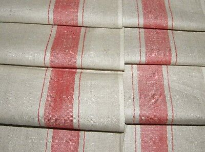 "MINT Linen Mangle Cloth Tablecloth Runner Large Red Stripe 35"" x 118"" 3.3 Yd M2"