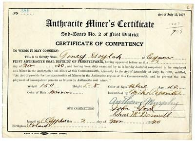 1920 Anthracite Coal Miner Certificate of Competency Carbondale Pennsylvania
