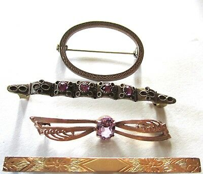 """Beautiful Antique Victorian Pin Lot Of 4 Pc 2 1/4"""" To 1 1/4"""" Great Purple Stones"""