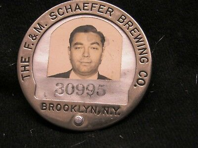 Vintage F & M Schaefer Beer Brewing Co. Photo Employee Badge Brooklyn Ny #30995
