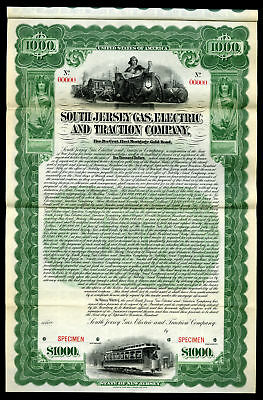 South Jersey Gas, Electric & Traction Co 1900 Specimen $1000 5% Gold Coupon Bond