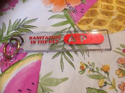 Vintage A & P Grocery Stores Lucite Bathroom Key Sanitation Is The Key