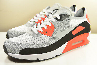 Nike Men's Air Max 90 Ultra 2.0 Flyknit WhiteGreyCrimson 875943 100 (SIZE: 13)