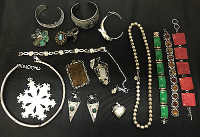 Lot of 18 Sterling Jewelry pieces Not Scrap  395 g t.w. Tested (100)