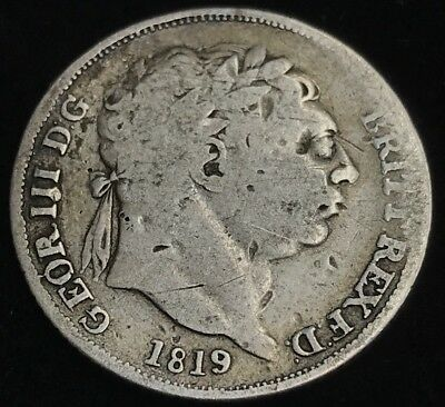 Antique Solid Silver King George III 1819 Sixpence