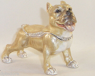 Kingspoint Admiral Pit Bull Dog Pewter  Bejeweled Hinged Trinket / Jewelry Box