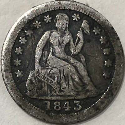 1843 O U.S. Seated Liberty One Dime Silver Coin New Orlenas