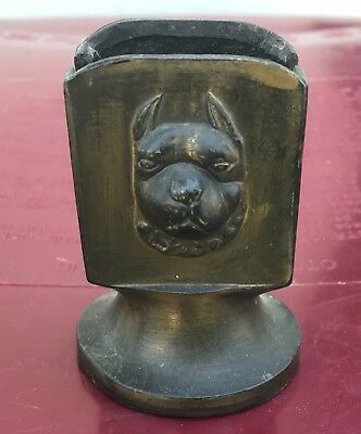 B&H Match Holder w/ Boston Terrier Dog Head in relief ~ Metal or Brass
