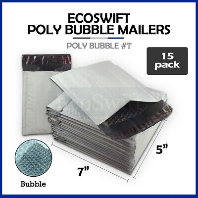 """15 #T 5x7 Self Seal Poly Bubble Mailers Padded Shipping Envelopes Bags 5"""" x 7"""""""