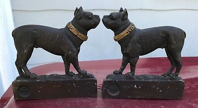 Cast Iron Bradley & Hubbard B&H Boston Terrier Dog Bookends ~ USA