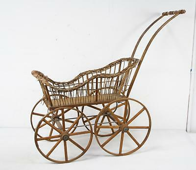 Vintage Rustic Wood And Wicker Baby Carriage Display Fragile