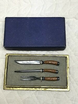 Vintage Kitchen Utensils Carving Set Miniature Dollhouse Mintoy Original Box!