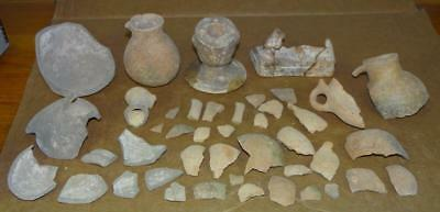 45++ Pcs. Ancient DUG/EXCAVATED EGYPTIAN ROMAN Pottery Vessels-Statue PIECES