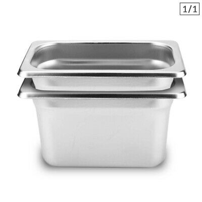 SOGA 2 x Gastronorm GN Pan Full Size 1/1 GN Pan 200mm Deep Stainless Steel Tray