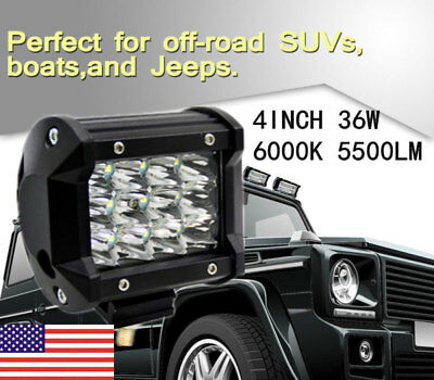 USA 4'' 36W 5500LM CREE LED Work Lights Bar Pods Offroad Lamp For ATV JEEP UTE