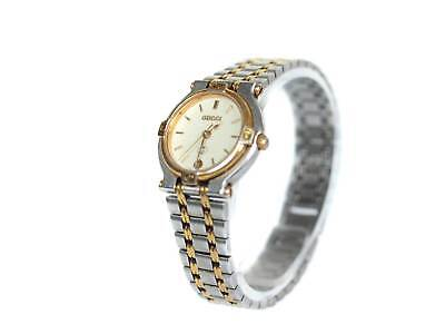 fe8aeb89387 Auth GUCCI 9000L Date Gold Plated Stainless Steel Quartz Women s Watch  GW16630L