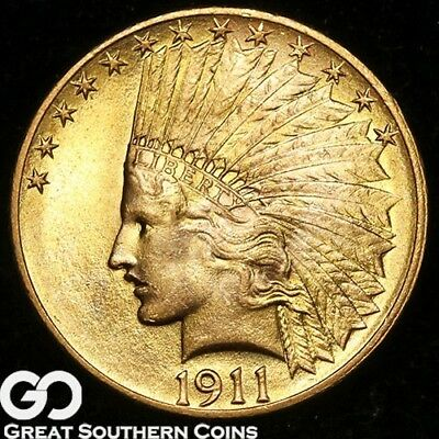 1911 Gold Eagle, $10 Gold Indian, Gorgeous Solid Gem BU++ ** Free Shipping!