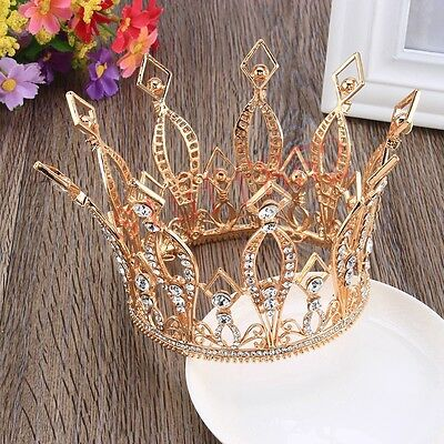 Baroque Crystal Queen Crown Tiara Luxurious Rose Alloy Gold Plated Rhinestone