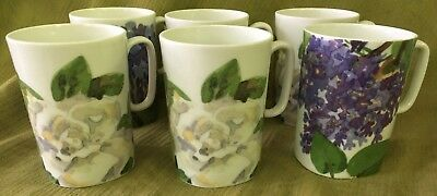 "Set of FIVE MUGS ""Romance of Flowers"" Block Langenthal   Designed Gary Bukovnik"