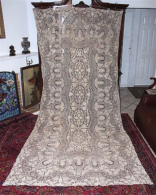 c'19th Point De Venise Italian Needlelace Huge Banquet Tablecloth Throw 137x68in